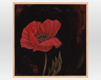 Nana Allegro Poppy - Original Oil Painting on Wood 8x8