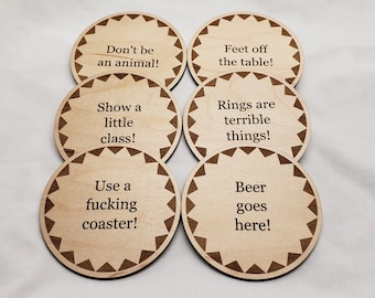 Set of six laser engraved drink coasters