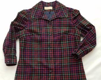 Vintage Pendleton Shirt Dress Size 16 Wool Plaid Navy Red Holiday Christmas  Long