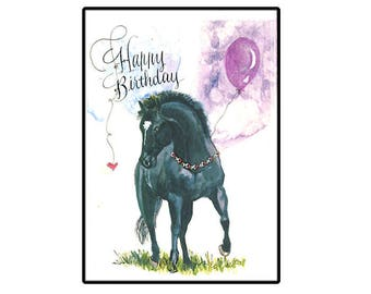 Birthday Horse Card Black With Balloons
