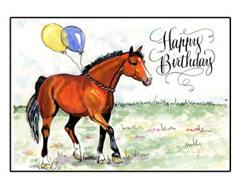 Birthday Card Happy Horse Bay Watercolor With Hand Calligraphy