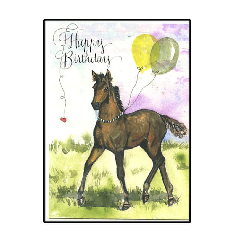 Horse Birthday Card In Watercolor Horse Lover Birthday