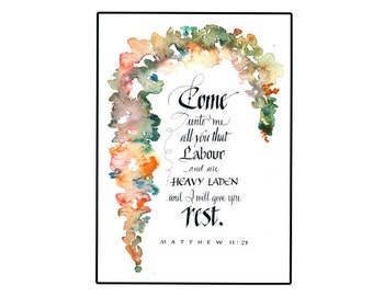 Handmade Christian greeting card, Bible verse Card in calligraphy