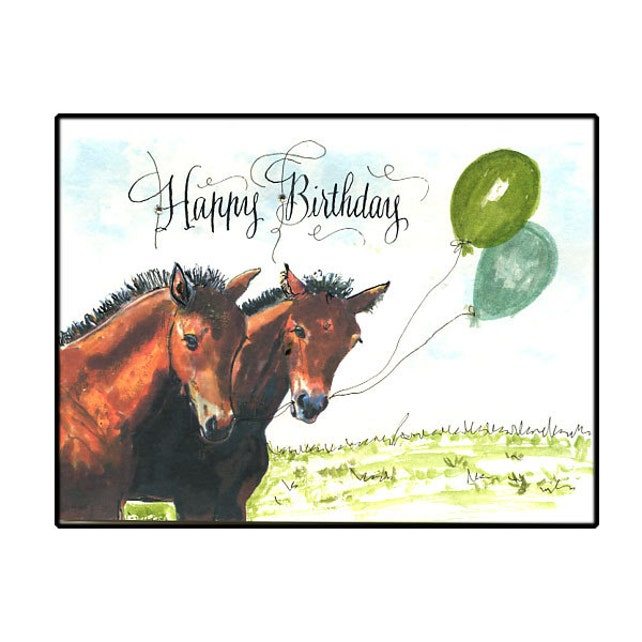 Horse Birthday Card Two Foals Birthday Horse Card Watercolor Etsy