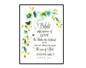Bible verse card in Calligraphy with hand painted watercolor flowers, Scripture card