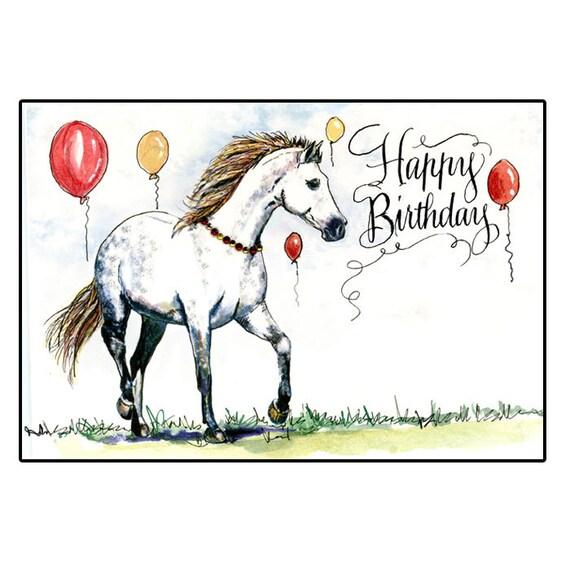 Grey Horse Birthday Card Dappled Gray Birthday Horse Card Etsy