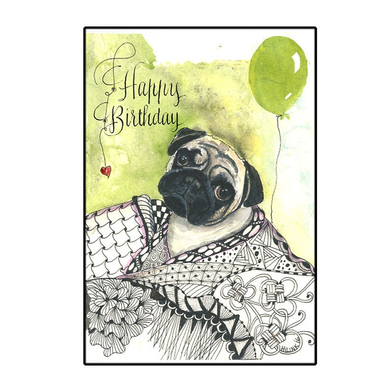Birthday Pug Card Happy With Dog