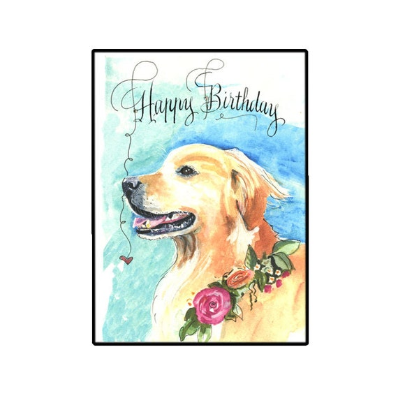 Golden Retriever Birthday Card Handmade Dog Card Watercolor Etsy
