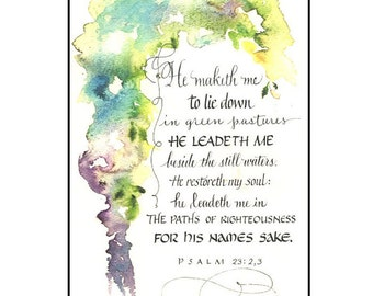 Christian Greeting card, Psalm 23 Card, Bible verse card in calligraphy, Encouragement Card