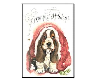 Christmas card, Basset Hound Holiday card, Basset Hound Christmas Card, Watercolor Dog Holiday Card