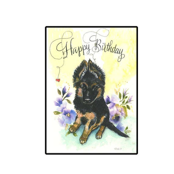 German Shepherd Puppy Birthday Card Cute