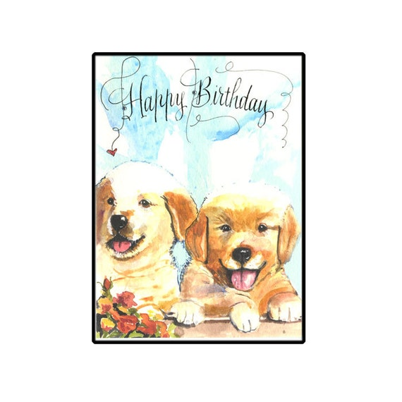 Golden Retriever Birthday Card Dog Birthday Card Golden Etsy