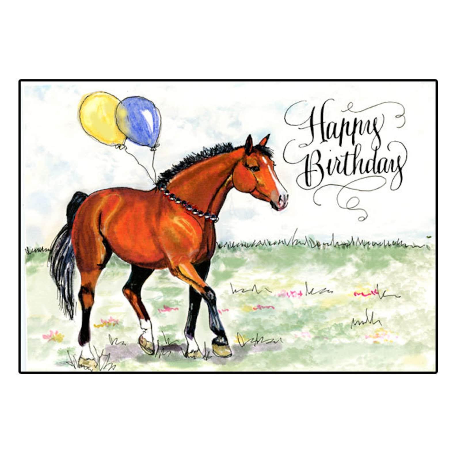 Открытка с лошадью на день рождения, открытки