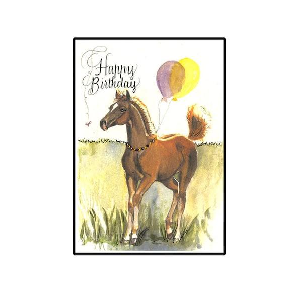 Birthday Card Horse Birthday Card Hand Painted Horse Card Etsy