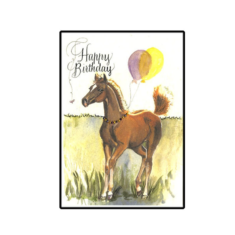 Birthday Card Horse Hand Painted With Balloons