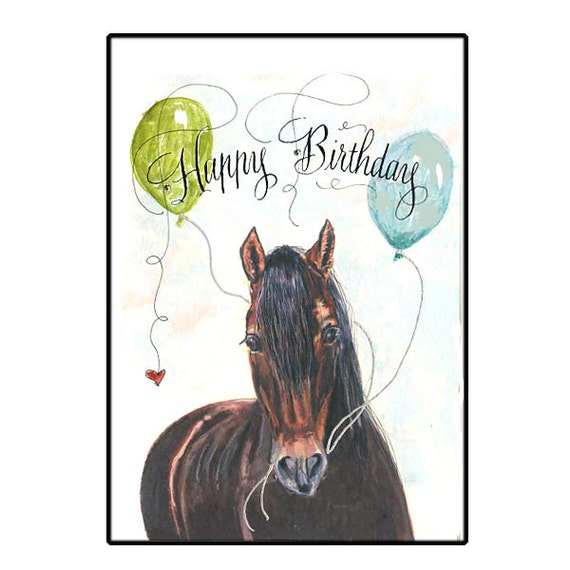 Birthday Horse Card Horse Happy Birthday Card Handmade