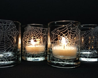 Halloween Candles Engraved 'Webs' 4 Glass Votive Candle Holders Party Favors Unique Decor