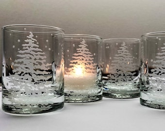 Fir Tree and Floating Flakes Votive Holder Engraved Glass Candle Holders Set of Four Winter Holiday Home Decor Winter Wedding Favors
