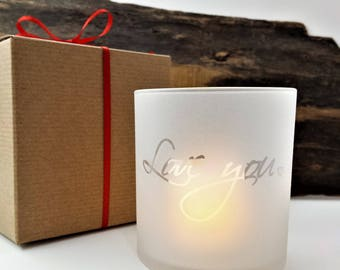 Love You Valentine Candle Holder Frosted Glass With LED Flameless Votive Candle and Gift Box Included