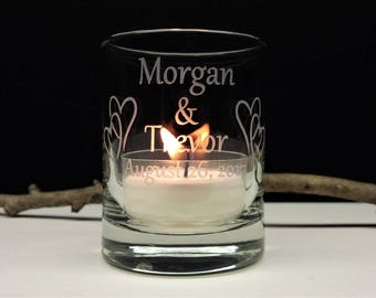 Personalized Wedding Candle Favors 50 pcs Engraved Glass Interlocking Hearts Reception Decor Take Home Gift