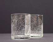 Webs  .  2 Hand Engraved Glass Candle Holders . FEATURED ON THE FRONT PAGE