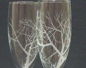 Reaching Branches,  Engraved Champagne Glasses