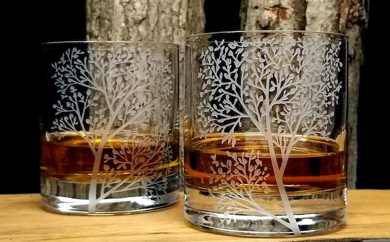 Your LOGO deep carved etched on 2 crystal Rocks Glasses engraved