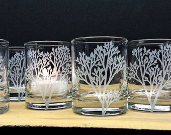 Woodland Candle Holders Glass Votive Holders Engraved Trees With Leaves Wedding Decor