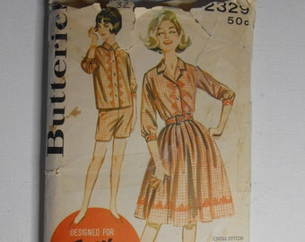 Vintage 60s Full Gathered Skirt , Front Button Shirt, Shorts, Summer Sportswear Outfit Sewing Pattern Butterick 2329 Size 12 Bust 32