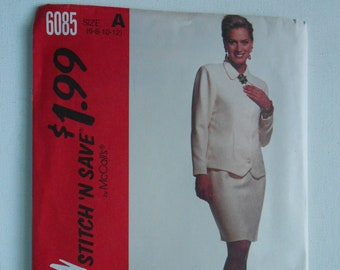 Unlined Jacket, Straight Skirt, Mother of the Bride Suit Sewing Pattern McCalls 6085 Size 6 8 10 12 Bust 30 1/2 31 1/2 32 1/2 34