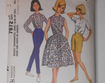 Vintage 60s Front Button Shirt, Full or Slim Skirt, High Waist Pants or Shorts Sewing Pattern McCalls 7672 Size 16 Bust 36