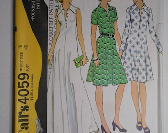 Vintage 70s Pounds Thinner Pullover Collared Dress, Long Maxi Evening Gown Extra Carefree Sewing Pattern McCalls 4059 Size 18 Bust 40 UNCUT