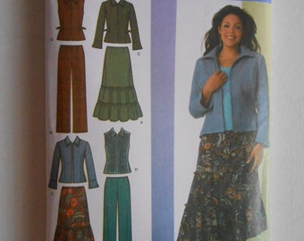 Tiered Skirt, Pants, Crop Hip Length Jacket, Vest, Business Suit Sewing Pattern Simplicity 4375 Size 10 12 14 16 18 Bust 32 1/2 34 36 38 40
