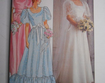 Vintage 80s Wedding Gown, Ruffled Bridesmaid Gown, Flower Girl Dress, Detachable Train Sewing Pattern Butterick 3063 Size 16 Bust 38 UNCUT