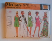 Vintage 60s Front Button Romper, Sleeveless Wide Leg Jumpsuit, Summer Dress, Long Sleeve Blouse Sewing Pattern McCalls 9711 Size 14 Bust 36