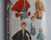 Vintage 1950s Shawl Collar Stole, Front Wrap Cape, Open Tuxedo Front Caplet Sewing Pattern Simplicity 4477 Size Large 20 - 40 Bust 38 40