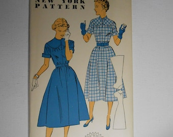 Vintage 50s Full Skirt Day Dress, Easy Evening Cocktail Dress, Scalloped Yoke Dress Sewing Pattern New York 1517 Size 13 Bust 31 UNCUT