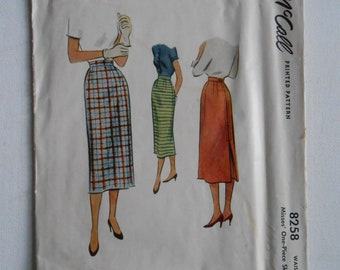 Vintage 50s Straight Skirt, Pencil Wiggle Skirt, One Piece Skirt with Waistband Sewing Pattern McCalls 8258 Size Waist 24 Hip 33
