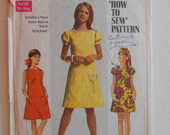 Vintage 60s Square Neck A Line Dress, Short Puff Sleeve Dress, Summer Sleeveless Dress Sewing Pattern Simplicity 7460 Size 11 12 Bust 32