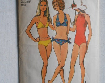 Vintage 70s One Piece Bathing Suit, Two Piece Swimsuit, String Bikini Sewing Pattern Simplicity 9933 Size 8 Bust 31 1/2 32