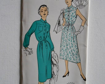Vintage 50s High Neck Dress, Front Button Dress, Shirtwaist Dress, Short Sleeve Dress Sewing Pattern New York 1429 Size 16 Bust 34 UNCUT