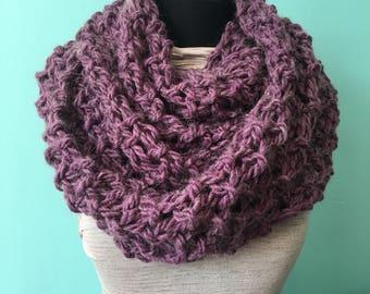 Purple Knit Cowl - Infinity Scarf - Figure 8 Scarf - Purple Scarf - Chunky Knit - Knit Wrap - Shoulder Wrap - Alpaca Scarf - Knit Cowl