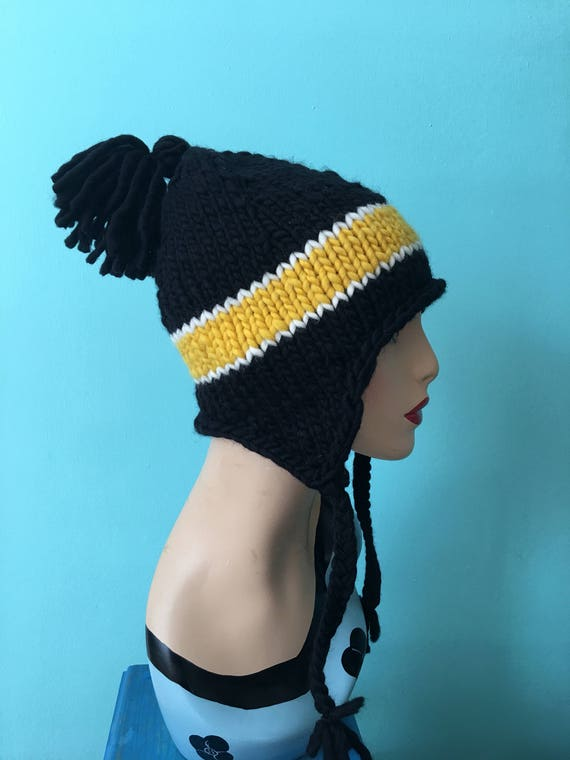 Steelers Hat Pittsburgh Steelers Black Yellow Knit Hat Pittsburgh Steelers Hat Knit Hat Wool Hat Football Hat Football Team