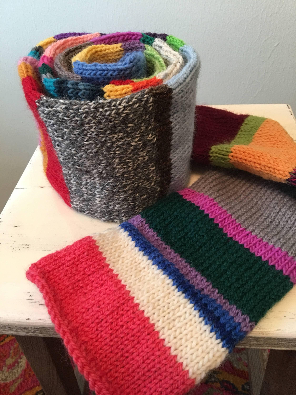 Recycled Rainbow Scarf Rainbow Scarf Knit Rainbow Scarf Etsy