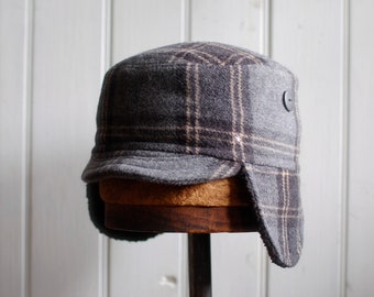 5dbd2e49c3d Woodsman S  Wool plaid military style hat with furry earflaps