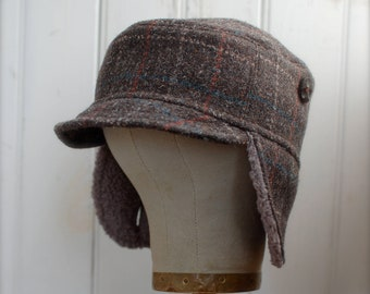 Woodsman S  Military style hat in pink wool plaid upcycled  346875ab1c
