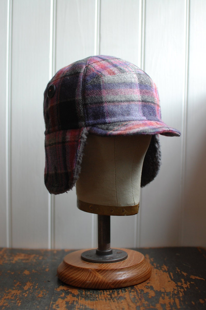 09789216d30 F1 M  Winter earflap hat in pink plaid wool ear flap hat for