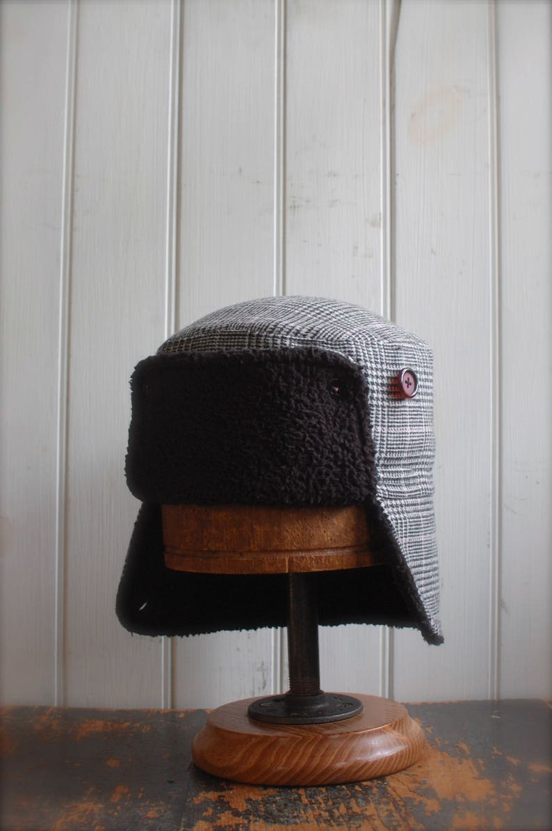 0c40287622c Furry Russian L  Cozy winter earflap hat plaid wool hat