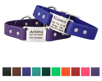 Waterproof and Odor Resistant Personalized ScruffTag Dog Collar with Built In Laser Engraved Nameplate