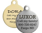 Double Sided Round Dog ID Tags - Available in Stainless Steel Brass